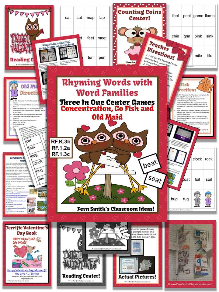 Freebie Giveaway Fern SMith's Valentines Rhyming Words Word Families Center Games & Interactive Notebook Pages