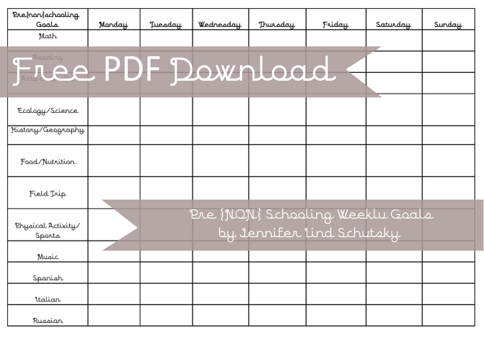 Freebie friday free weekly pre non schooling chart also hawks and honey rh hawksandhoneyspot