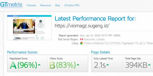 Kecepatan Loading Template VioMagz Menurut GTmetrix