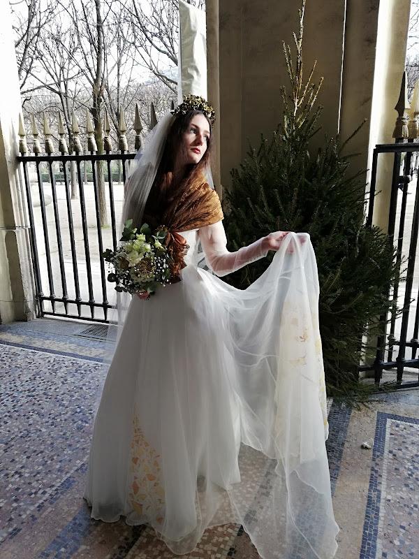 Robe de mariée Ginkgo en organza peint à la main