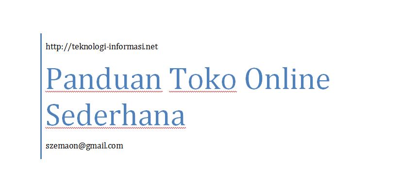 Ebook Panduan Toko Online Sederhana