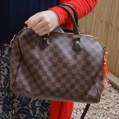 Louis Vuitton Damier Ebene 30 speedy bandouliere with lace skirt | away from the blue
