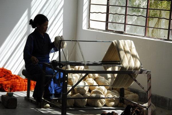 Raw wool spun to yarn
