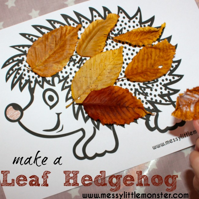Autumn leaf craft ideas for kids.  Leaf hedgehog with free printable hedgehog colouring page. A simple autumn / fall activity for toddlers and preschoolers.
