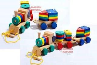 Mainan Edukasi Kayu Kereta Geometri