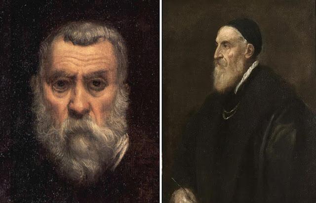 Retratos de Tintoretto e Ticiano