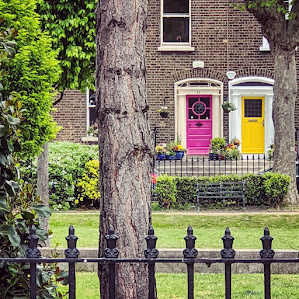 Pink and yellow doors of Dublin on Pearse Square