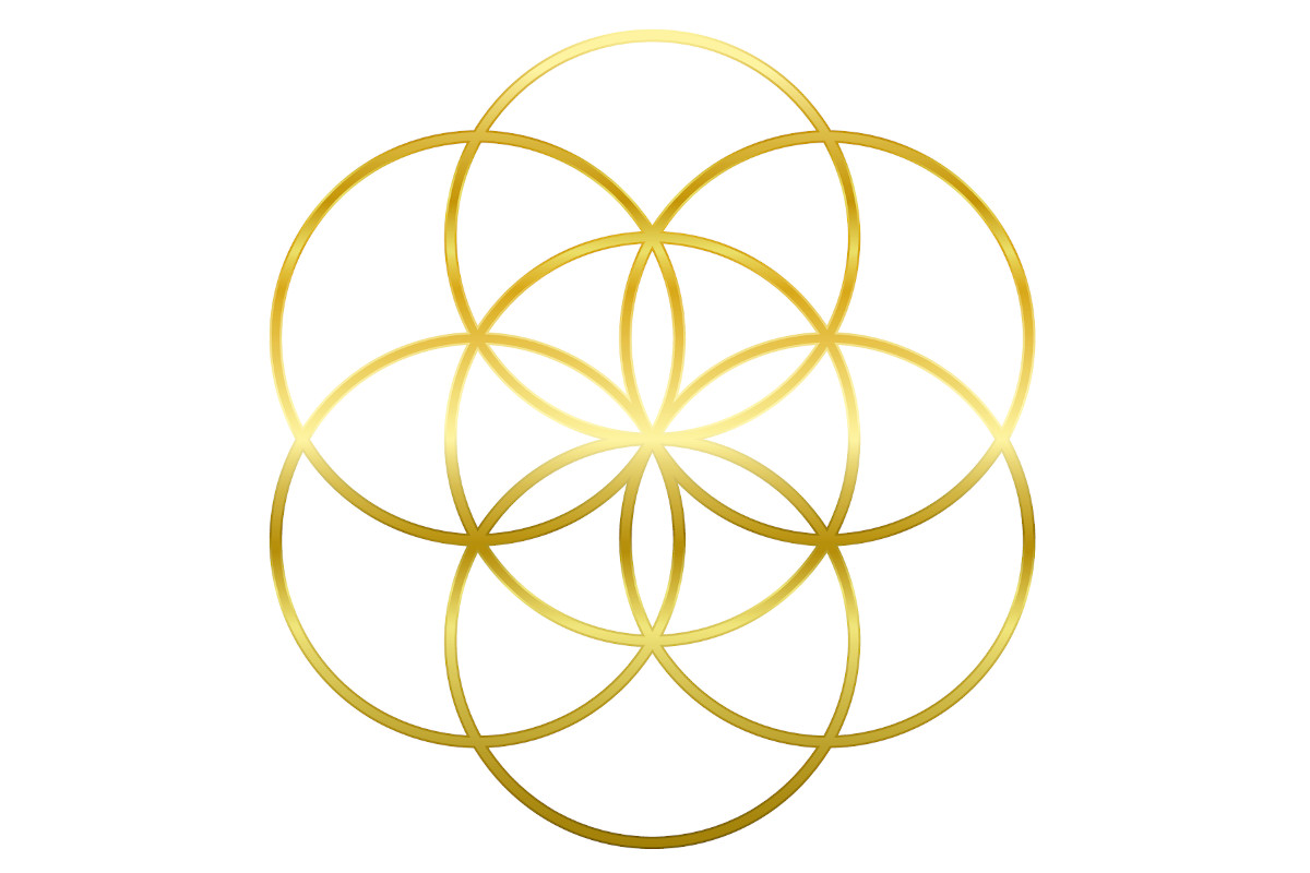 Interlocking flower of life in gold with seven rings of power