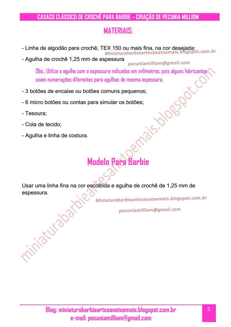 Casaco Clássico de Crochê Para Boneca Barbie Passo a Passo pag. 5