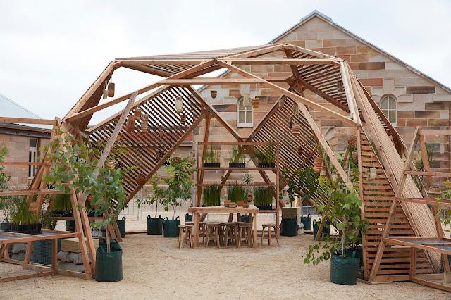 Photo of Tony Albert's sustainable greenhouse structure