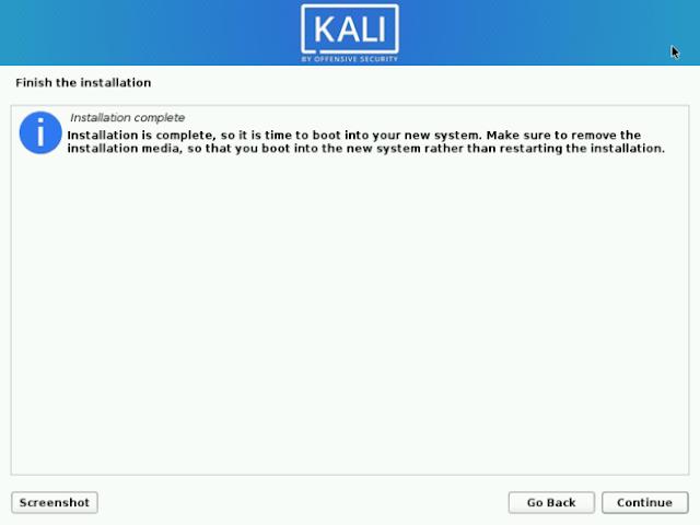 Proses Instalasi Kali Linux Terbaru Selesai