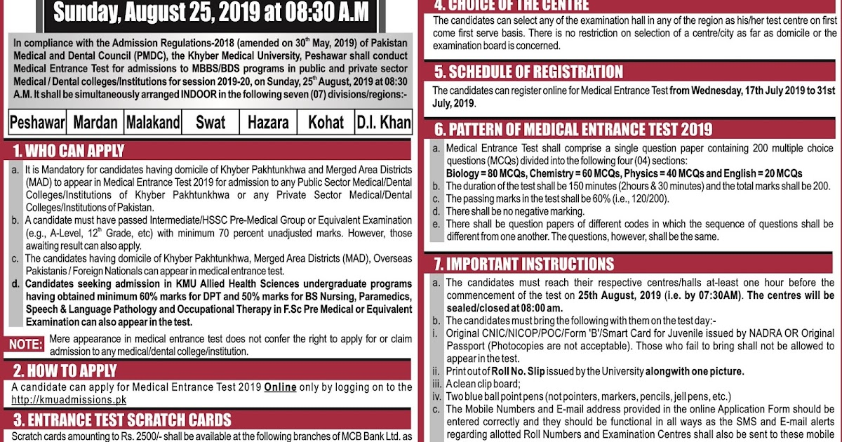 Khyber Medical University Etea Entrance Test 2019 - MashTheTech on gautam buddha university, kabul medical university, riphah international university, gandhara university, king edward medical university,