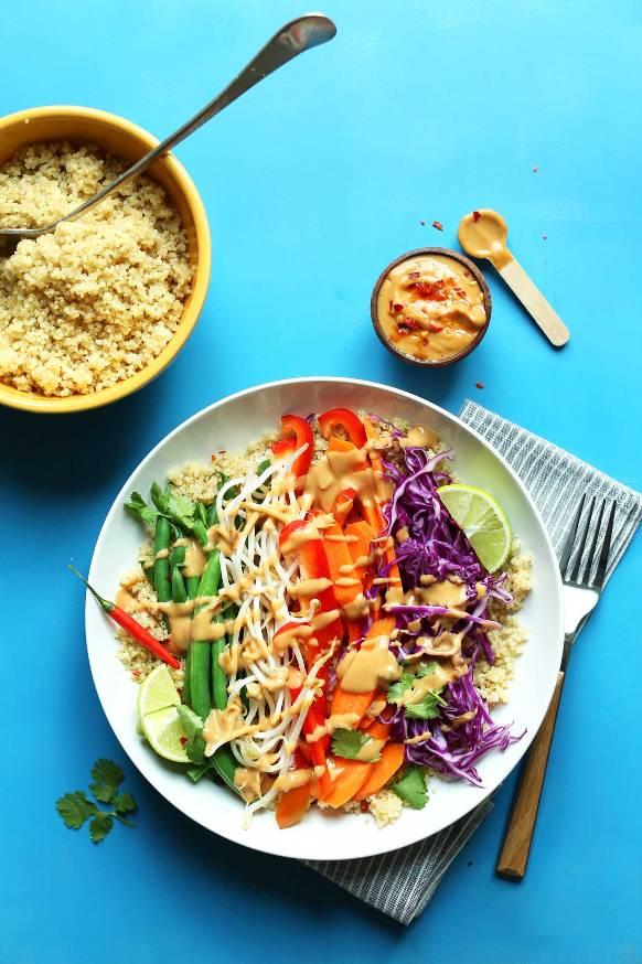 Vegetarian Quinoa Gado Gado Bowl