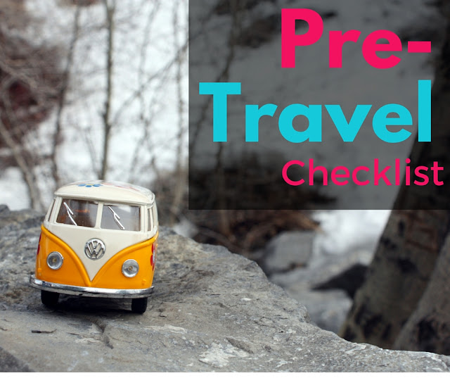 Title card: Pre-travel checklist. Yellow van in front of snow.