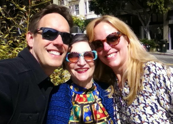 Karen (center) with composer Jake Heggie (left) and soprano Lise Lindstrom (right) in San Francisco, March 2015