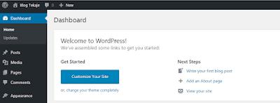 Tampilan dasbor wordpress