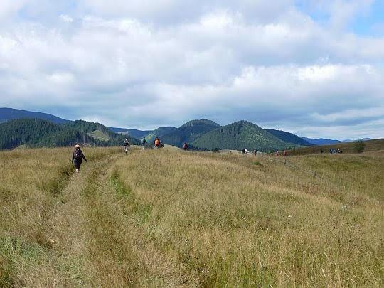 Rozległe łąki nad wsią.