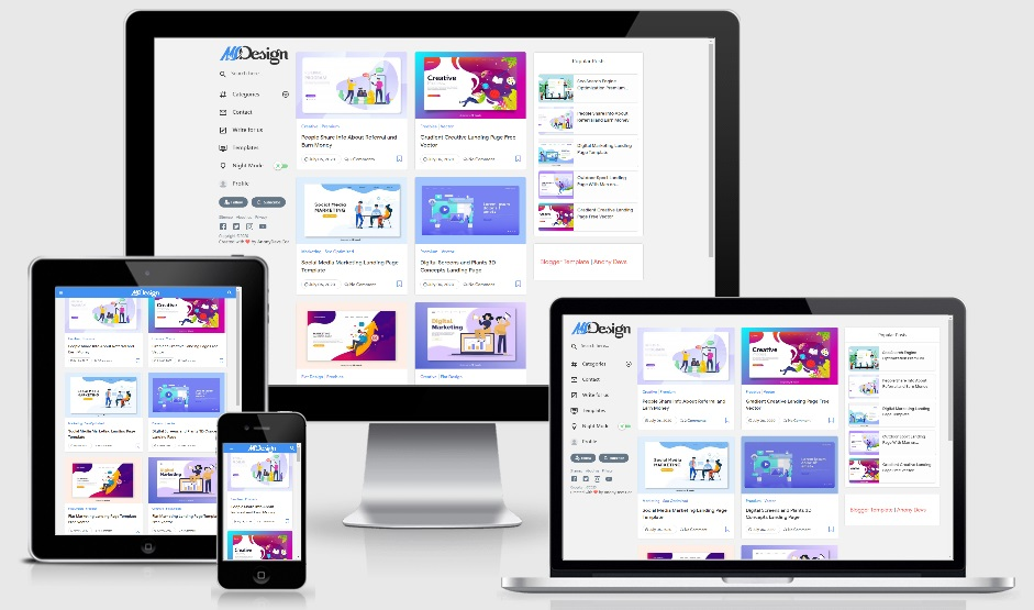 MSD Responsive Grid Style Blogger Template Premium