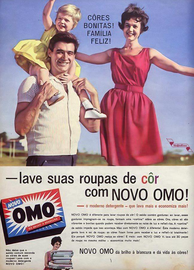 Anúncio antigo em promoção ao Sabão OMO veiculado em 1963