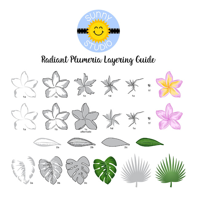 Sunny Studio Blog: Layered Radiant Plumeria Tropical Flower Stamp Color Layering Guide