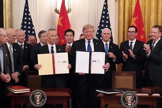 Buổi lễ ký kết thỏa thuận thương mại giai đoạn 1 Mỹ Trung