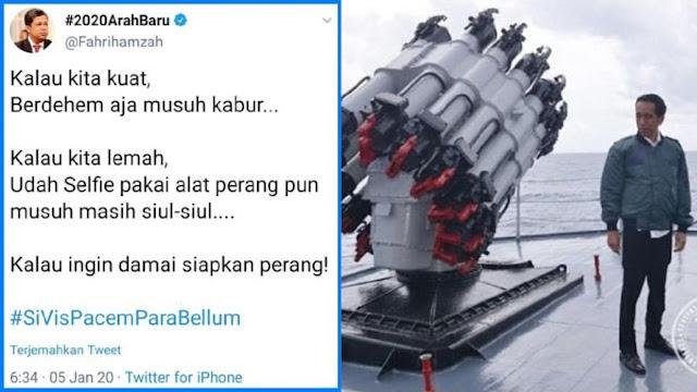 Fahri Hamzah: Kalau kita lemah, Udah Selfie pakai alat perang pun musuh masih siul-siul..