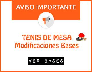 TENIS DE MESA: Modificaciones en las bases