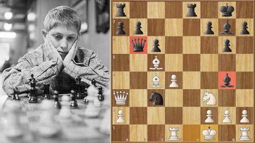 Bobby Fischer a 13 ans en 1956. Opposé à Robert Byrne, le prodige américain va jouer le coup du siècle dans cette position avec les Noirs