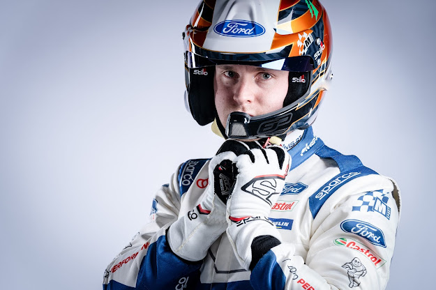 Esapekka Lappi With race suit and crash helmet on