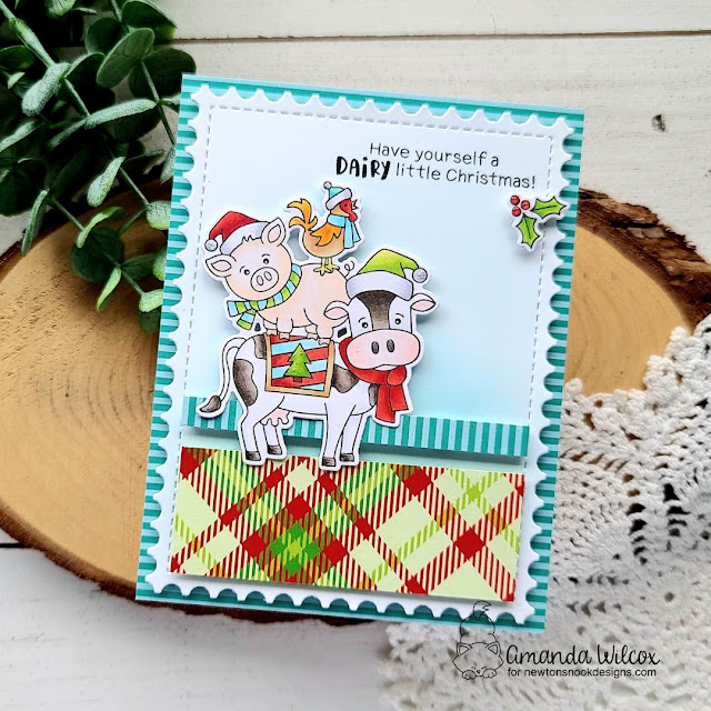 Farm Animals Christmas Card by Amanda Wilcox | Dairy Christmas Stamp Set, Meowy Christmas Paper Pad and Framework Die Set by Newton's Nook Designs
