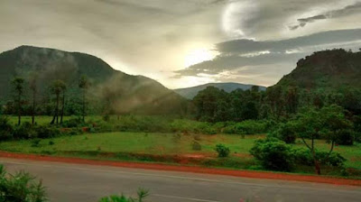 Beautiful sunset on Vizag Tirupati highway