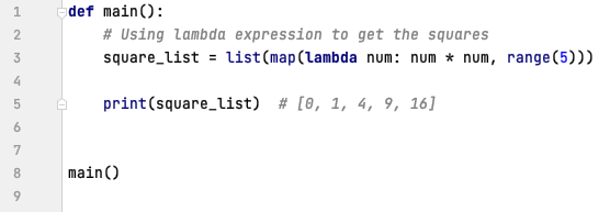 map() with lambda expression in Python