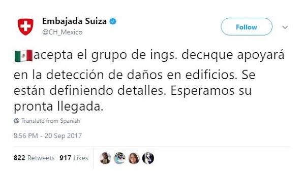 Embajada Suiza confirma que México aceptó ayuda de sus voluntarios