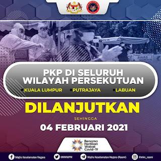 PKP Di Seluruh Wilayah Persekutuan Dilanjutkan Sehingga 4 Februari 2021
