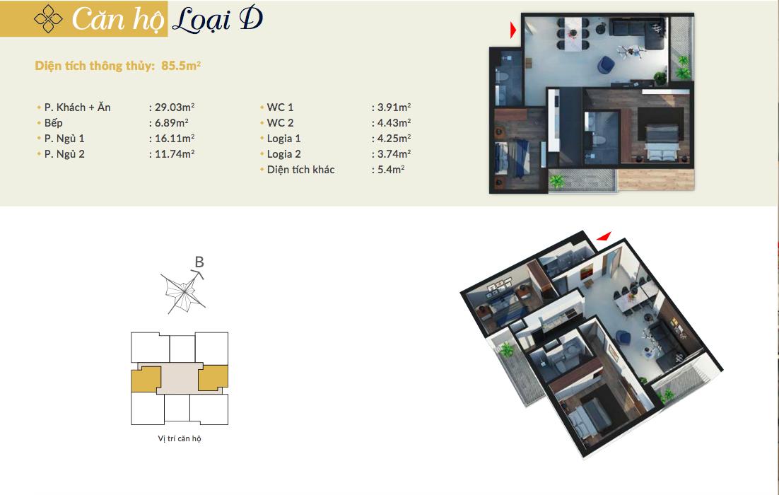 Thiết kế căn hộ loại D - 85,5m2 - 2PN, 2VS chung cư Bohemia Residence