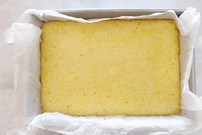 freshly baked lemon bars in pan