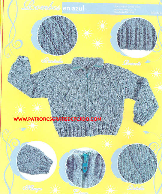 campera bebe punto rombos tricot