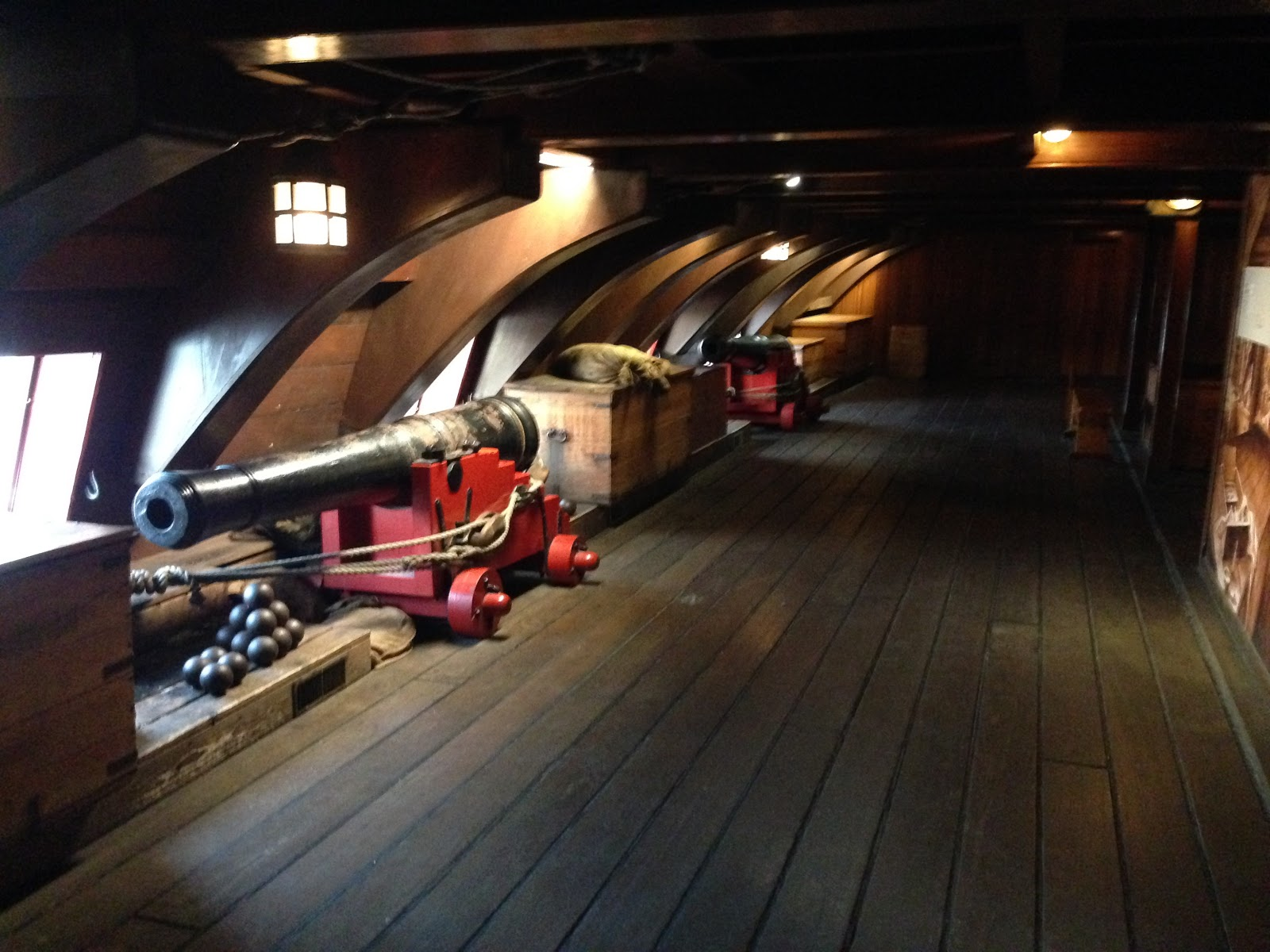 Canons placed inside the VOC Ship in Maritime Museum