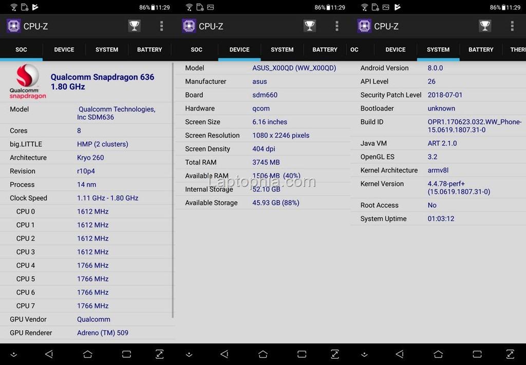 CPU-Z Asus Zenfone 5 ZE620KL