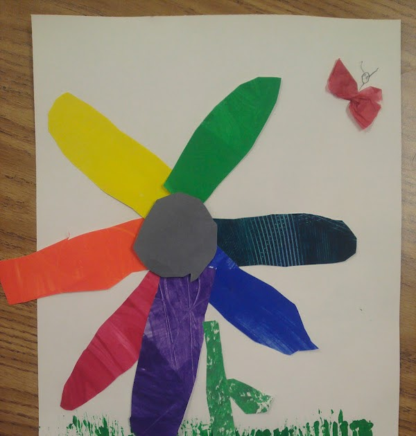 Miss Oetkens Artists Painted Paper Flower Color Wheels Eric Carles The Tiny Seed