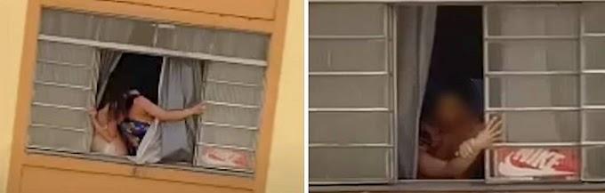 VÍDEO: GRÁVIDA É FILMADA SENDO AGREDIDA E TENTA SALTAR JANELA NO RJ; NAMORADO É PRESO