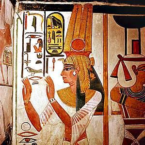 Pintura de la pared de la reina Nefertari de su tumba en el valle de las reinas, Thebes, Egipto, siglo XIII.