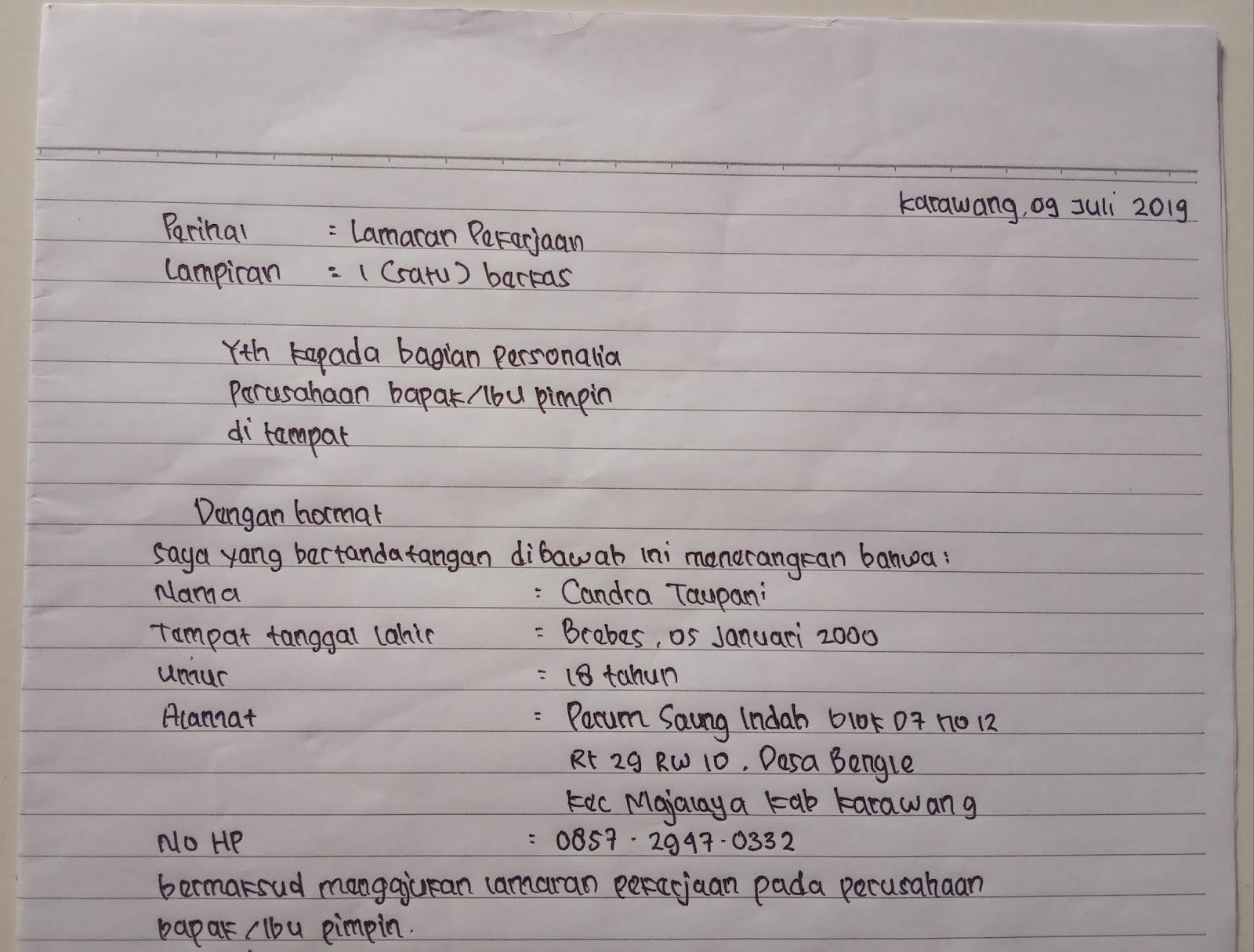 Contoh Surat Lamaran Kerja Tulisan Tangan 2019 - Bagi ...