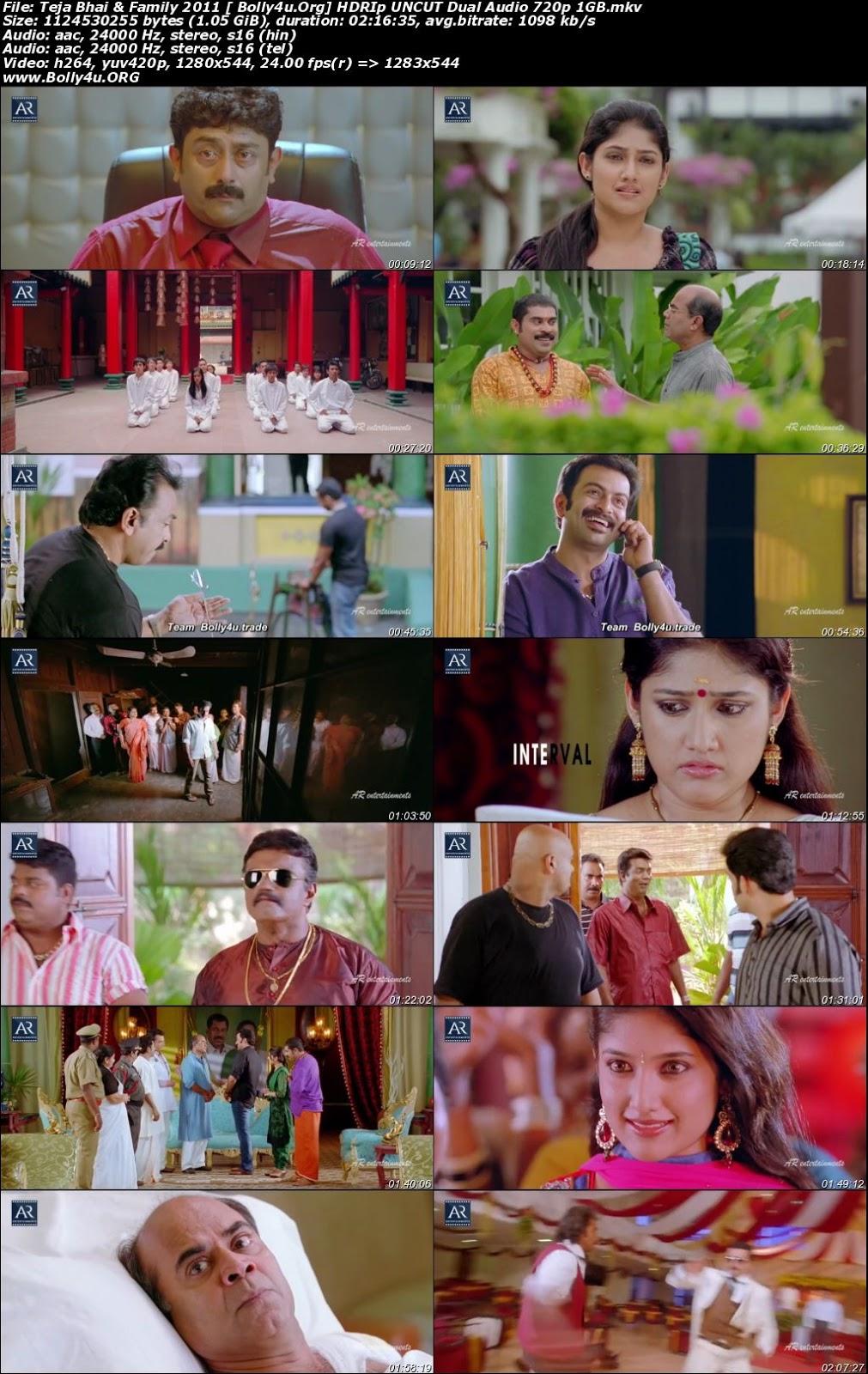 Teja Bhai and Family 2011 HDRip 450Mb UNCUT Hindi Dual Audio 480p Download