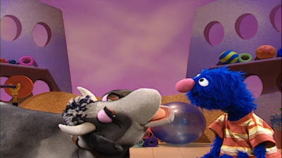 Grover wants to jump over the moon and fails. Kathleen the Cow jumps very high and disappears, breaking the roof of the studio. Sesame Street Happy Healthy Monsters
