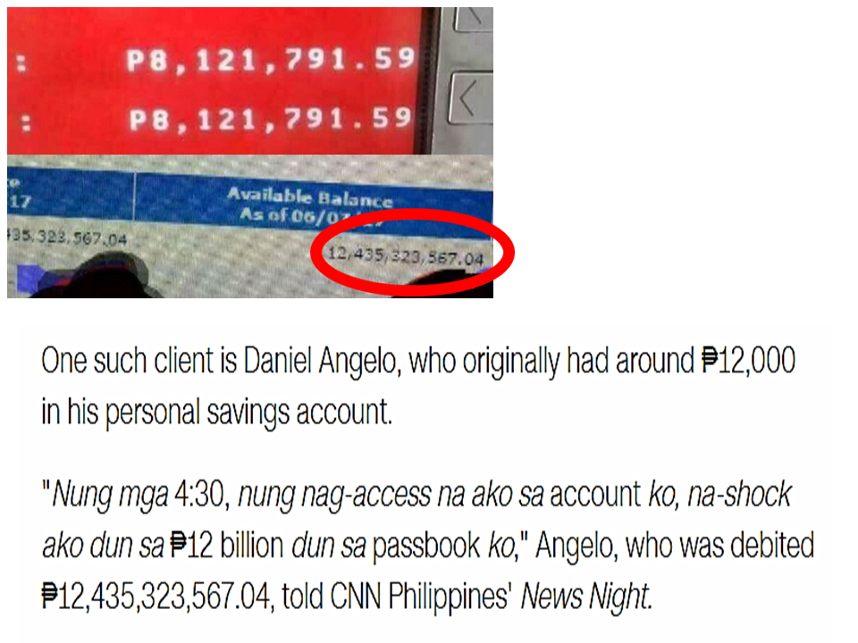 The National Bureau of Investigation (NBI) filed criminal complaints against a netizen claiming that his cash deposits had become P12 billion after the  glitch on the system that affected the Bank of the Philippine Islands (BPI) recently.  Daniel Angelo Salasalan is facing libel complaints for falsification by private individuals and use of falsified documents under the Revised Penal Code and online libel under Section 4(c)(4) of the Cybercrime Prevention Act of 2012.  The complaints were filed by the NBI before the Manila Prosecutor's Office. Agent Manuel Eduarte, NBI Cybercrime Division chief Head, said Salasalan only made up the story and he admitted it during their investigation. He said that he just invented the story and posted it on his social media page that said more than P12 billion had been deposited on his account following the BPI glitch. Reports said Salasalan only had around P12,000 in his account prior to the BPI system glitch.  BPI Enterprise Services Group head Ramon Jocson earlier said that those claiming to have billions transferred to their accounts are only making up stories.  The Senate probe into the incident,revealed that the system glitch was caused by a system programmer who was in a rush to post transactions, BPI officials said  The employee that had been involved in the system error had been transferred to another post while they continue checking into the incident, adding that she voluntarily came forward to admit her mistake.  The glitch affected 1.5 million out of the eight million  BPI depositors. Source: GMA News, Sunstar  Read More:         ©2017 THOUGHTSKOTO www.jbsolis.com SEARCH JBSOLIS, TYPE KEYWORDS and TITLE OF ARTICLE at the box below