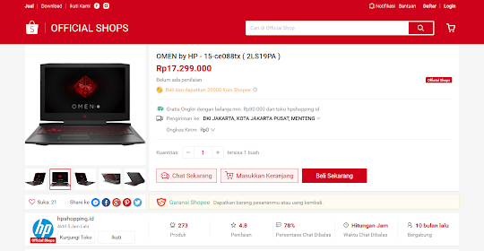 Belanja Online Laptop Omen By HP di Shopee Indonesia