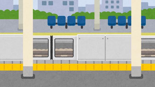 ホームドアのある駅のホームのイラスト(背景素材)