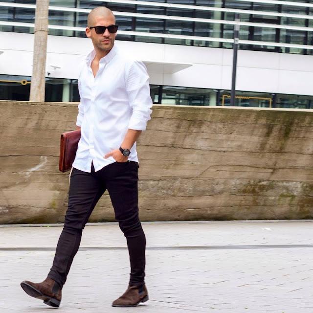 phối đồ bad boy với áo sơ mi trắng
