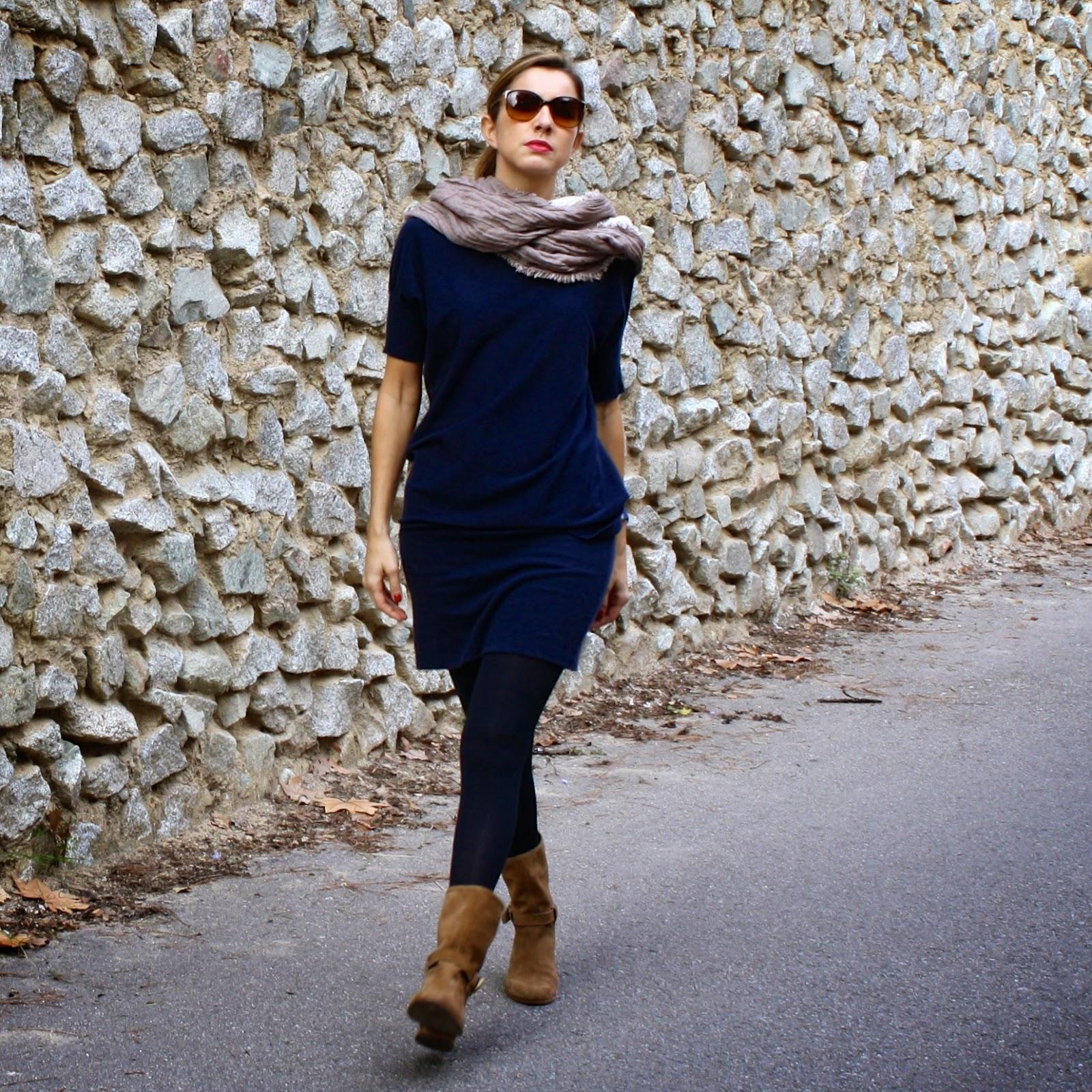 Vestido azul marino invierno